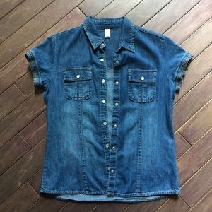 Detailed Button Up Denim Blouse